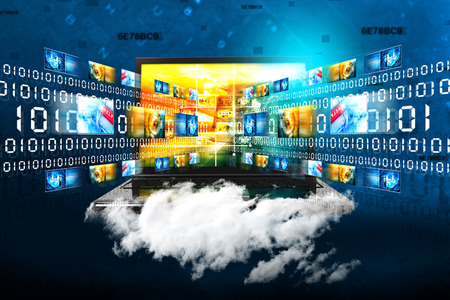 Cloud computing with data sharing and communication Stok Fotoğraf - 39043140