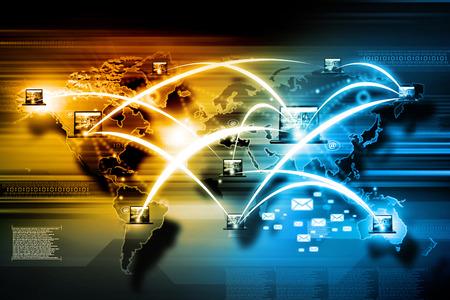 alrededor del mundo: La tecnolog�a de Internet o la tecnolog�a de comunicaci�n Foto de archivo