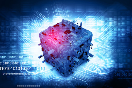 electronic hardware: Digital illustration of electronic circuit board