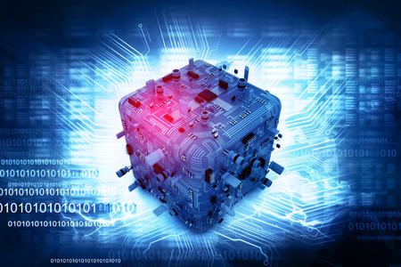 hardware: Ilustraci�n digital de la tarjeta de circuitos electr�nicos