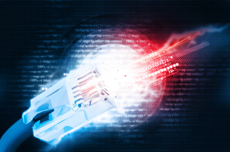 fibra óptica: Ilustración digital de cable de red