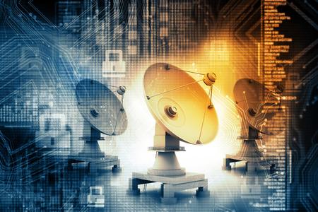 Digital illustration of Satellite dish transmission