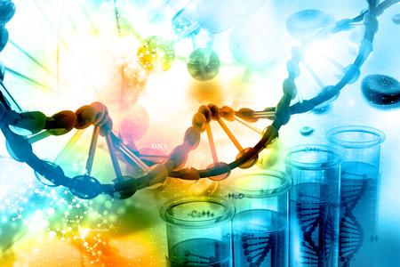 tige: Illustration numérique de l'ADN avec un fond scientifique Banque d'images