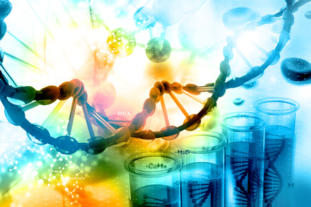 Digital illustration of DNA with scientific background