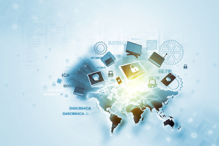 network devices: Global network devices Stock Photo