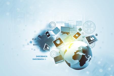comunicação: Dispositivos de rede global Banco de Imagens