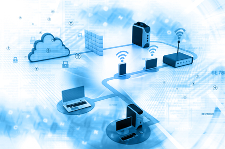 Digital illustration of Cloud computing devices