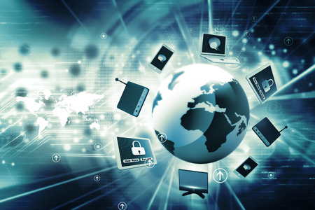digital data: Global network devices Stock Photo