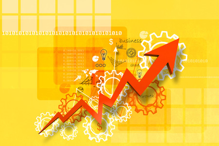 arow: Economical stock market graph in abstract background