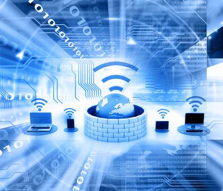 ワイヤレス ネットワーク デバイスをセキュリティで保護します。 写真素材