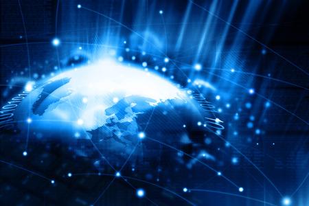 globo terraqueo: Ilustración digital de la tecnología de red