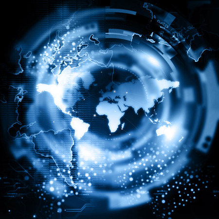 global network: Global network connection Stock Photo