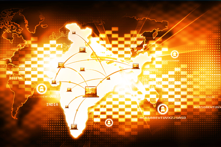 telecommunications technology: Digital India internet technology Stock Photo
