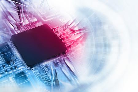 Ilustración digital de la tarjeta de circuitos electrónicos