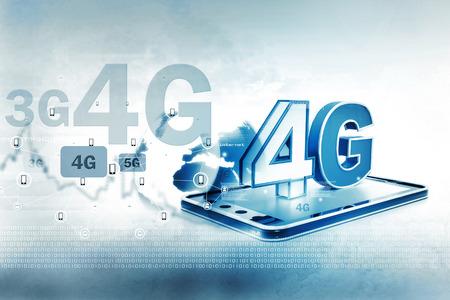 4g: Digital illustration of 4g tablet pc Stock Photo