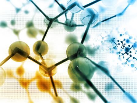 scientific equipment: Molecules on scientific background