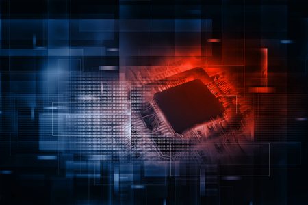 전자 집적 회로 칩의 디지털 그림