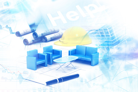 Modern project plan on architectural background Stock Photo