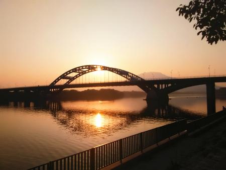 setting  sun: Bridge under the setting sun