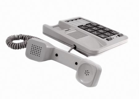 comunication: Telephone, telephone set, telecomunication, cable, electrical component, connection, unit, telephone receiver, keyboard, button, key, call centre, white background, white, office, office facilities, conversation, information, comunication, object, informa