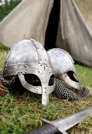 armament: The part of the armament of the mediaeval warrior before the tent. Stock Photo