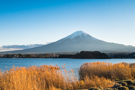 cloud capped: Mt.Fuji and Lake Kawaguchiko, Japan Stock Photo