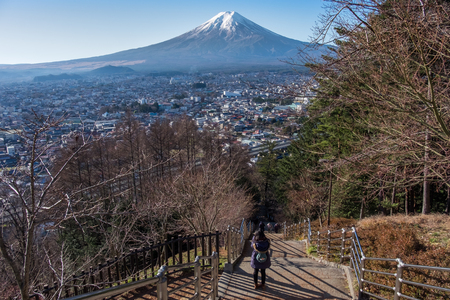 chureito: Mt.Fuji from Chureito Pagoda Stock Photo