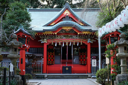 hachimangu: Shrine in Enoshima  Island - Kamakura, Japan Stock Photo
