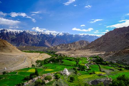 Landscape around Likir Monastery in Ladakh, India Stock Photo