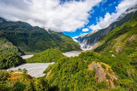 Franz Josef Glacier, Located in Westland Tai Poutini National Park on the West Coast of New Zealand 스톡 콘텐츠