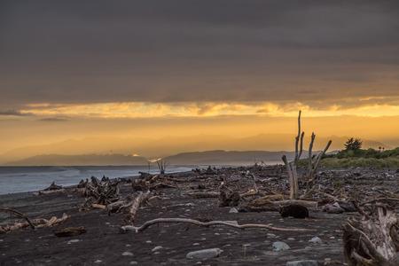 Sunrise at Hokitika on the West Coast of New Zealands South Island. Stock Photo