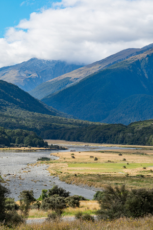 View from Cameron Flat Camping Ground, Its located in the Mount Aspiring National Park near the Makarora River, South Island of New Zealand Stock Photo