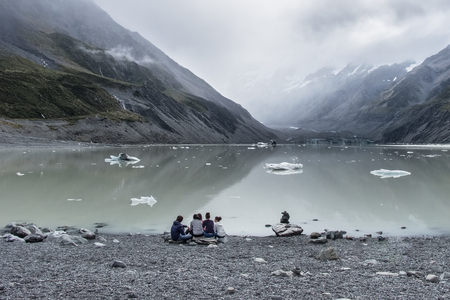 Hooker Lake, One of the most popular walks in AorakiMt Cook National Park, New Zealand Editorial