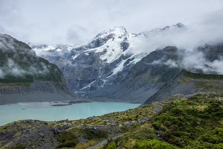 Hooker Valley Track, One of the most popular walks in Aoraki/Mt Cook National Park, New Zealand Stock Photo - 90933045