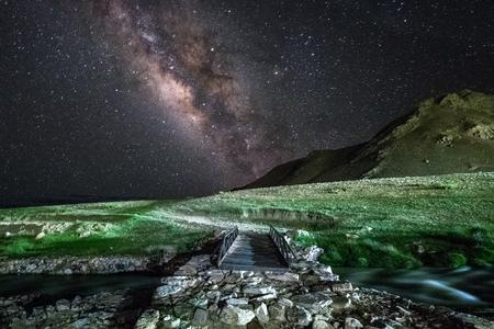Milky way at Tso Moriri Lake in Ladakh, India