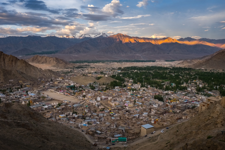 Landscape of Leh city and mountain around, Leh district, Ladakh, in the north Indian state of Jammu and Kashmir. Stock Photo