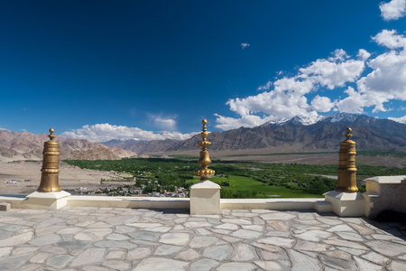 Aerial view from Thiksey monastery, located on top of a hill in Thiksey village east of Leh in Ladakh, India. Stock Photo