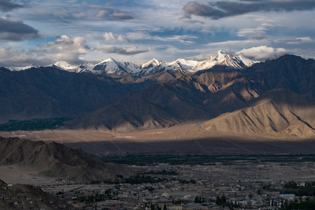 Landscape of Leh city and mountain around from Leh Monastery Leh district, Ladakh, in the north Indian state of Jammu and Kashmir. Stock Photo