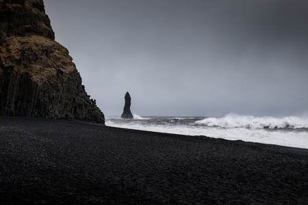 Landscape around black sand beach in Vik, Iceland