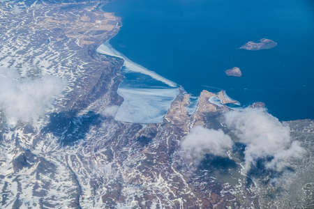 Landscape of Iceland island from a plane to Reykjavik Stock Photo