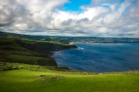 Landscape around Fair head trail. One of the famous attraction in country of antrim near ballycastle, Northern Ireland, United Kingdom Stock Photo