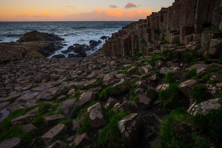 Landscape around Giant's Causeway. It is located in County Antrim on the north coast of Northern Ireland, United Kingdom.