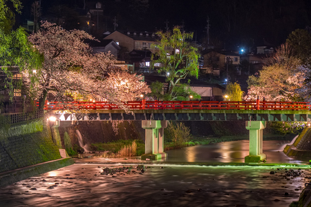 Landscape of Nakabashi bridge, the most recognizable landmark of Takayama, in the night on the cherry blossom full bloom season, Japan