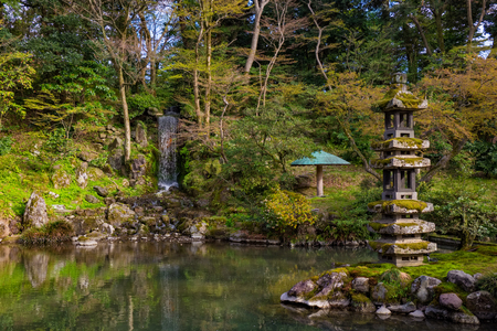 Landscape around Kenrokuen garden one of the most beautiful landscape gardens, Locate in Kanazawa city, Japan Stock Photo
