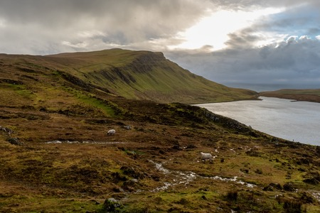 The Landscape around Neist Point Lighthouse, one of the most famous attraction in Isle of Skye, Scotland, United Kingdom Stock Photo