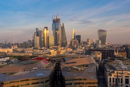Aerial view of London at the sunset from St.Paul Cathedral, United Kingdom
