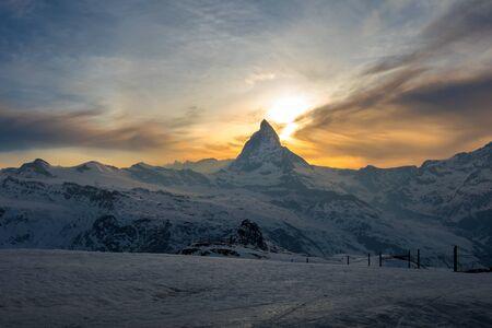 Scenic view of Matterhorn peak from Gornergrat in Zermatt, Switzerland Imagens