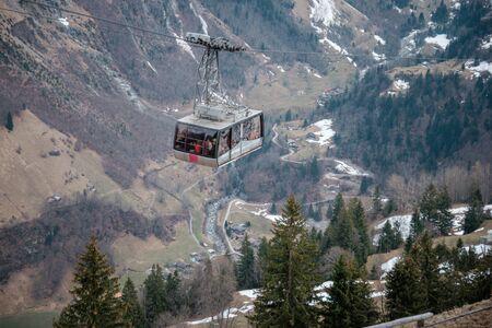 A cable car to Schitlhorn summit from Murren village, Switzerland
