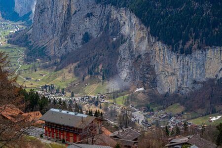 Aerial view of Lauterbrunnen village from Wangen, Switzerland