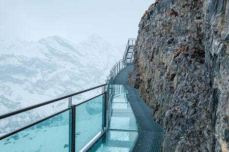 The Thrill Walk, a steel and mirror bridge at the Schilthorn summit in the Bernese, Switzerland